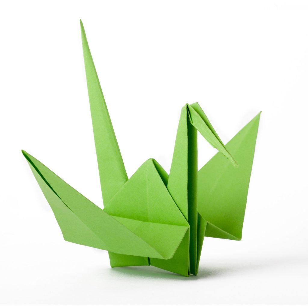 grüner Origami Kranich